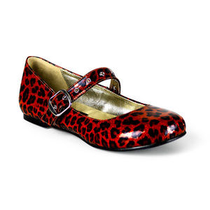 Shoes - Pin Up Shoes Punk Gothic Ballet Flats Leopard Red